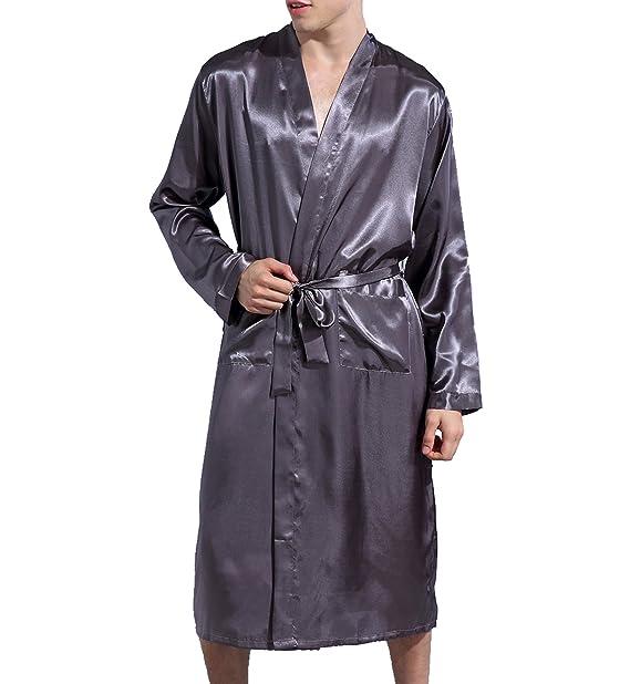 Amazon.com: Surenow Hombre Noche Satén albornoz pijama ...