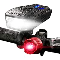 Raniaco 800-Lumen USB Rechargeable Bicycle Headlight with Rear Light