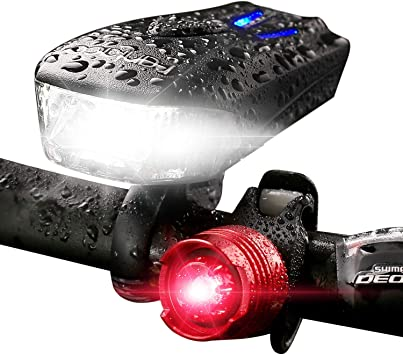 LED Bike Light Front Rear Mount POWERFUL Bicycle Headlight Flashlight USB Charge