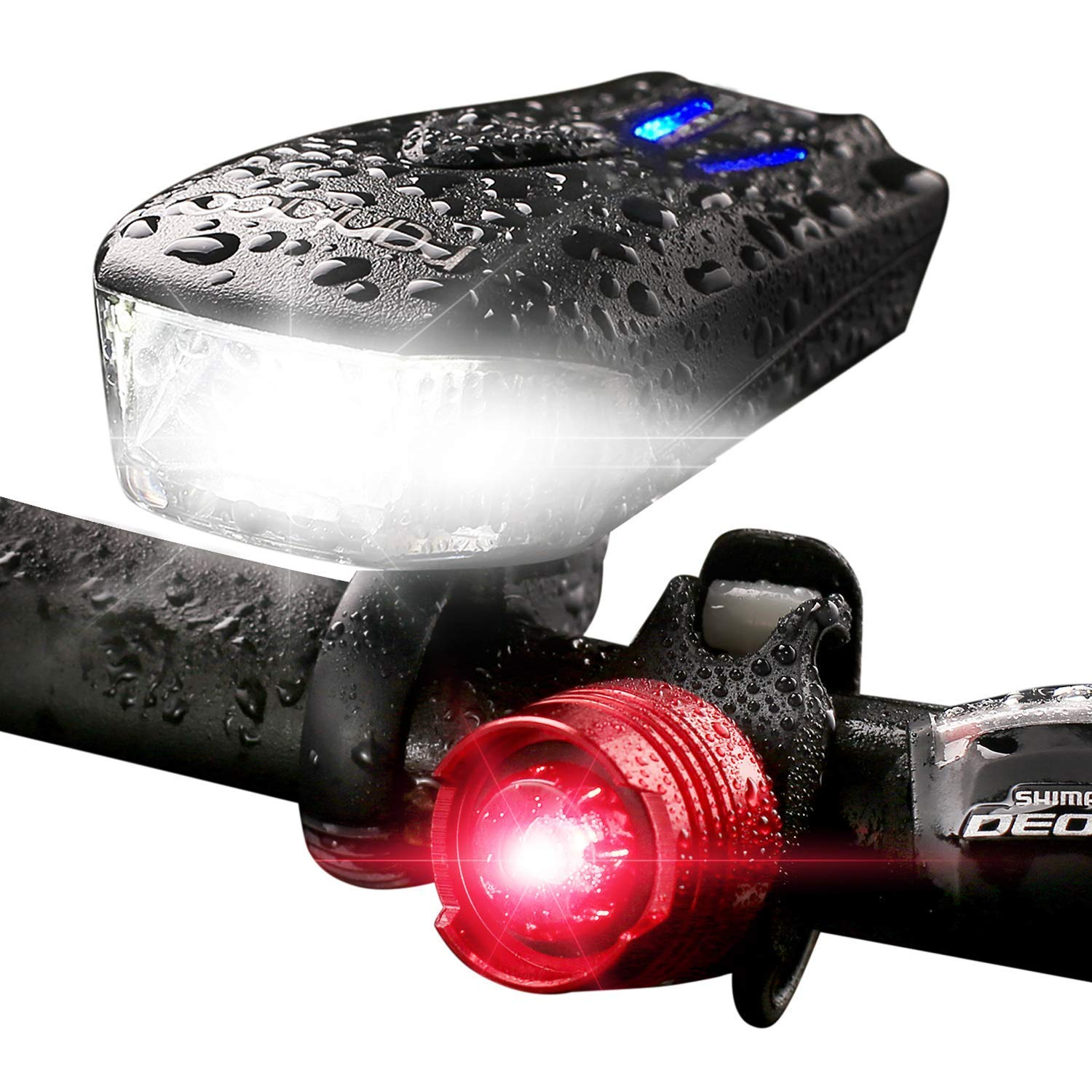 Bicycle Headlight 800 Lumen USB Rechargeable 5 Modes Led Bike Lights Front and Back Set Super Wide Range Design ,Free Rear Tail Light Road Best Cycling Flashlight for Outdoor,IP65 Water-Resistant