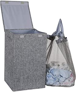 HOSROOME Laundry Hamper with Lid Laundry Basket with Removable Bag Hampers for Laundry with Handles for Bedroom Bathroom,Grey