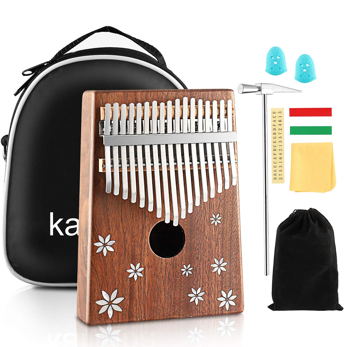 Kalimba 17 Key Thumb Piano Finger Piano Mahogany Wood Body Mbira 17 Tone Musical Instrument for Kids Gift Beginner Musician with Music Book Tune Hammer and Bag