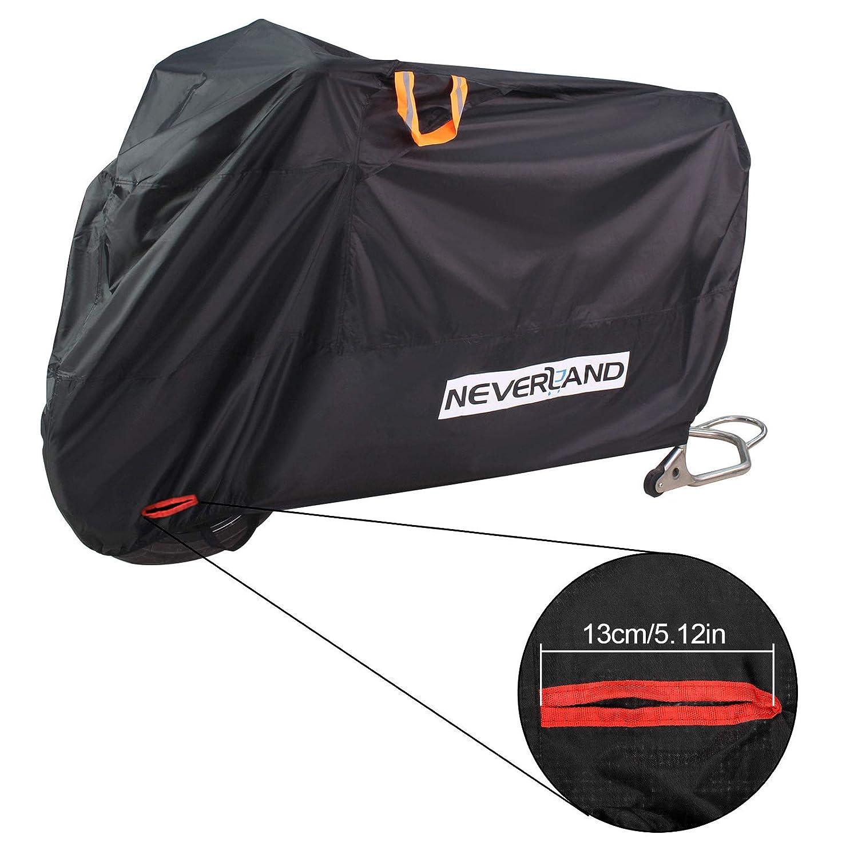 NOVSIGHT Bâche Housse de Protection pour Moto Scooter Taille L en Tissu 210D Oxfords Enduit PU Etanche avec 2 évents Respirants 4 Oeillets en Tissu Durable