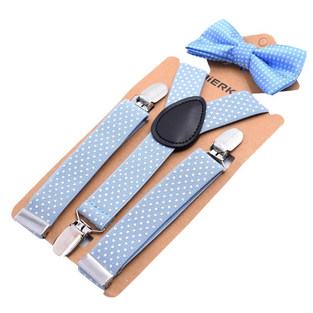 Bigood Enfant Nœud Papillon Bretelles de Pantalon Style-Y 3 Clips à Pois BGD180716A330