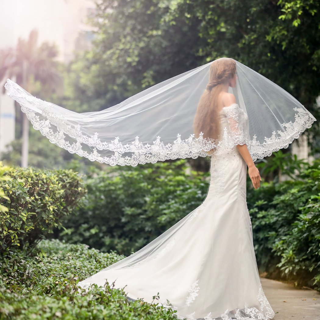 Amazon.com: Aukmla Wedding Bridal Veils Hair Accessories with Lace ...