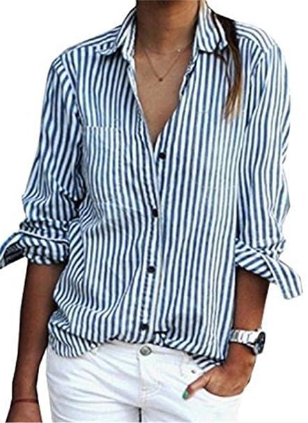 Donna Camicia Elegante Primavera Manica Lunga Camicetta A Strisce Camicie  Taglie Forti Sciolto Casual Maglietta Moda Blusa Top  Amazon.it   Abbigliamento bd422a2989a