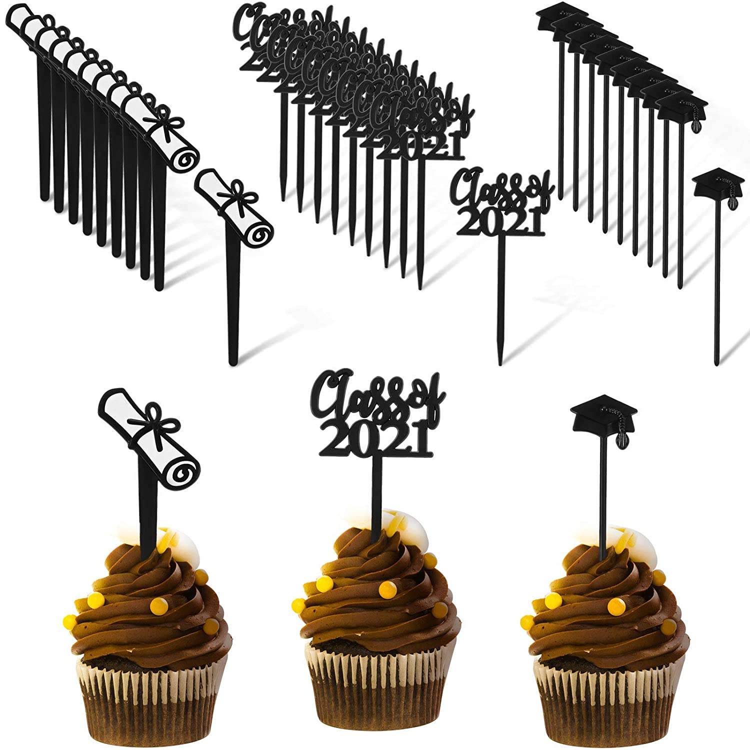 90 Pieces Class of 2021 Theme Graduation Cake Topper Cupcake Picks Plastic Picks Graduation Cupcake Decorations for Party Supplies and Graduation Party Favors, 3 Styles