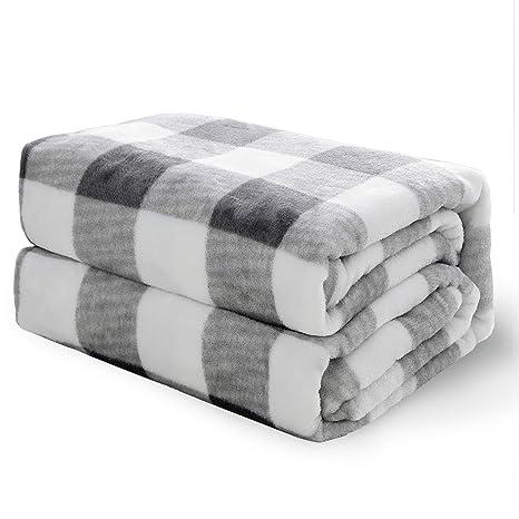 Bedsure Manta para Sofas de Franela 220x240 cm - Manta para Cama de 150/135 Reversible de 100% Microfibre Extra Suave - Estamapada a Cuadros ...