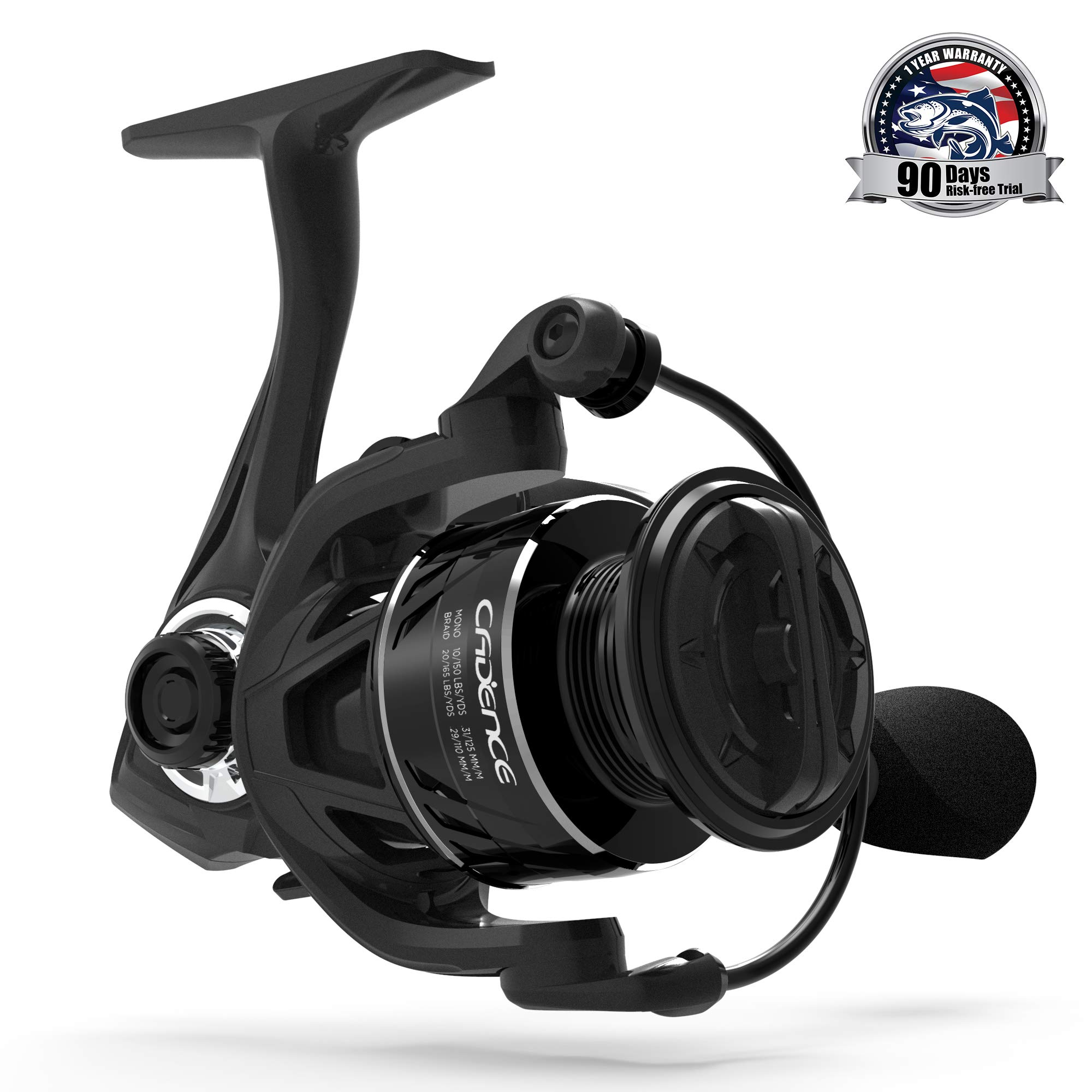 Cadence Fishing CS5 Spinning Reel | Lightweight Carbon Frame & Side Plate | 8 + 1 Corrosion Resistant Bearings | Size 1000