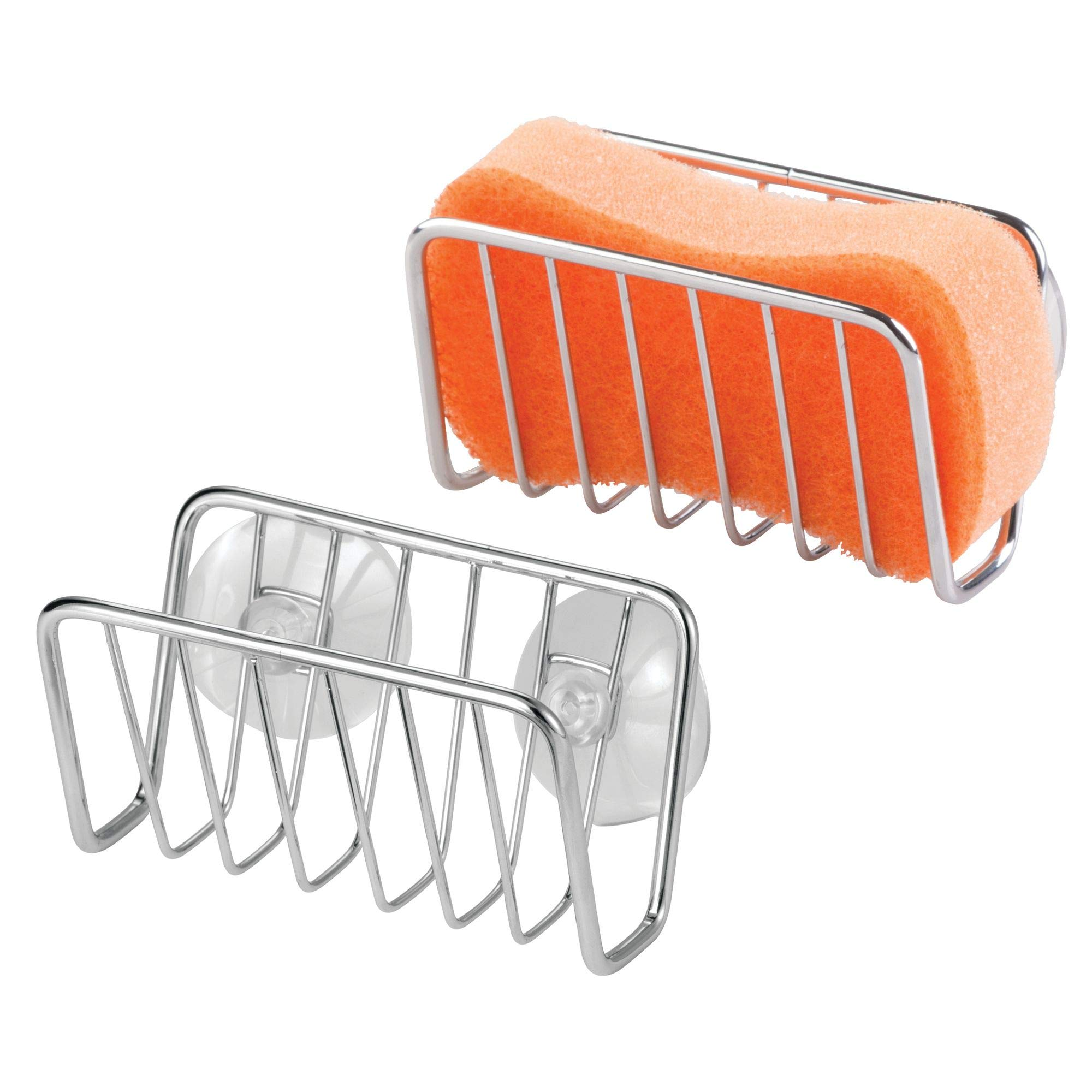 mDesign Kitchen Sink Organizer Caddy, Storage Holder for Sponges, Soaps, Scrubbers - Quick Drying Wire Basket Design with Strong Suction Cups - Pack of 2, Chrome