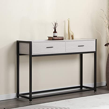 Fabulous Soges Console Table 47 2 Hallway Entry Way Table With Drawers Living Room Sofa Table Sturdy Metal Frame Grey Oak Dx 121 Dailytribune Chair Design For Home Dailytribuneorg