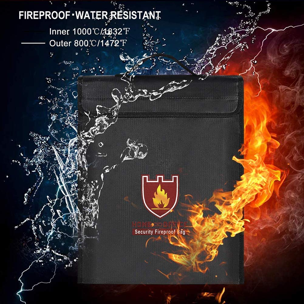 Jewelry Documents Fireproof Document Bags Waterproof and Fireproof Bag with Fireproof Zipper Fireproof Safe Document Storage Fire Resistant Pouch Envelope Holder Papers for Money