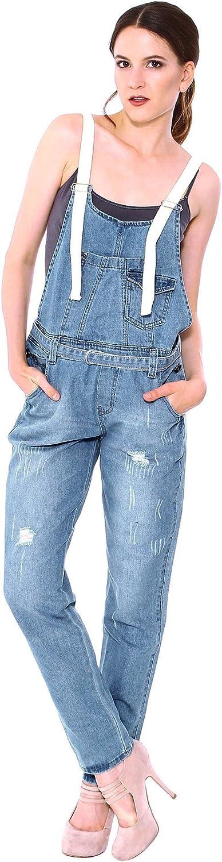 Simplicity Juniors Denim Ripped Jean Loose Straight Jumpsuit Overalls