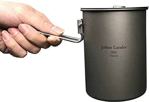 Jolmo Lander Titanium Adventure Cooking Pot with Locking Handle Ultra-light Compact Mug Pot for Camping,Hiking 25oz//30oz