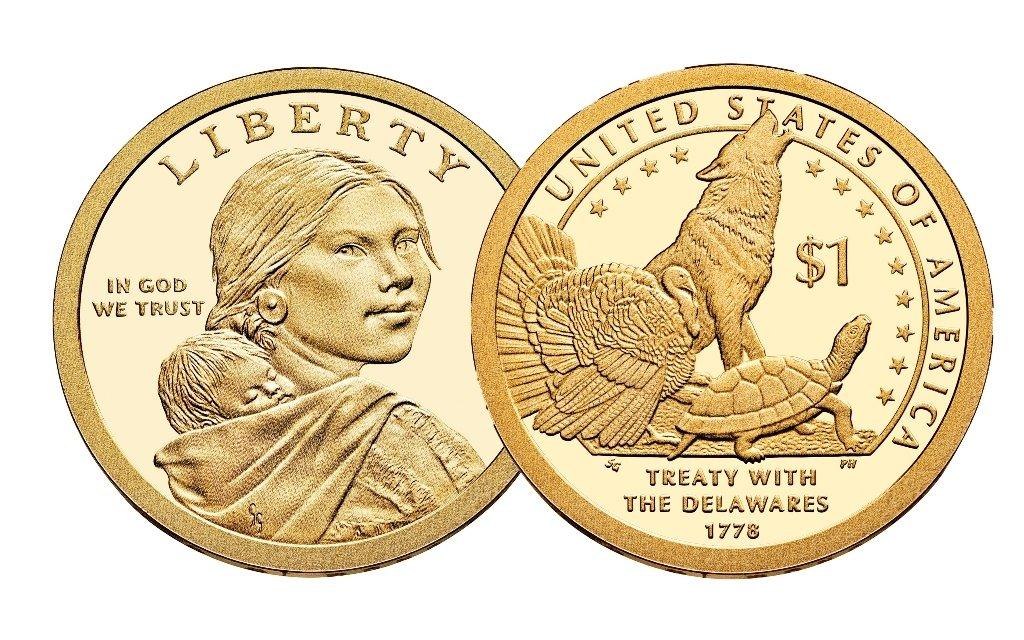 2013-P Sacagawea Dollar Roll-25 Native American Dollar Coins-Wolf Turtle,Turkey