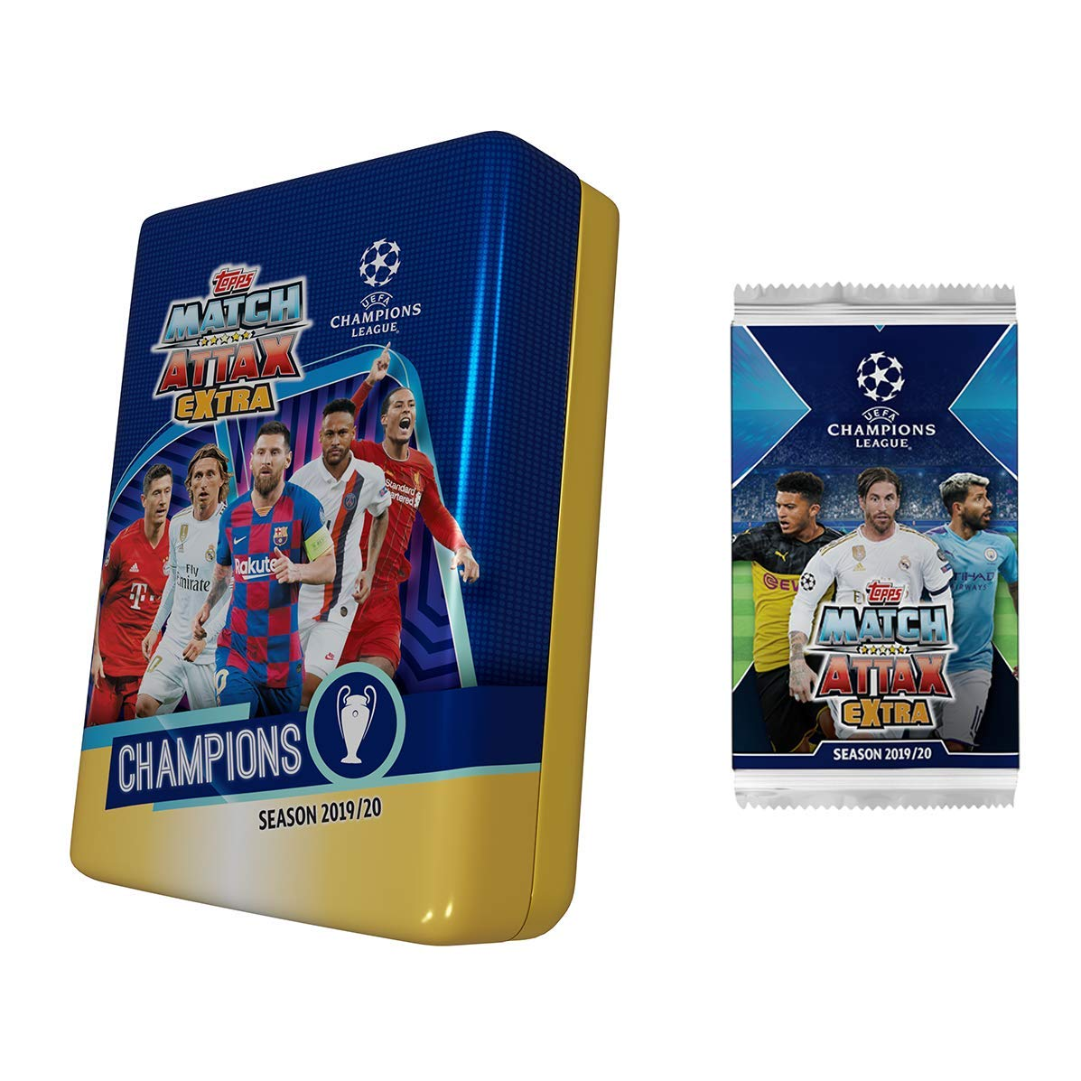 Champions League 2019-20 Topps Match Attax Extra Cards Mega Tin 50 Cards, 15 Exclusive Title Winners + LE Gold Salah Card Bonus Pack Includes Messi /& Ronaldo Cards!
