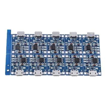 10Pcs Cargador De Batería Módulo 5V 1A Placa Interfaz Micro USB Con Luz LED