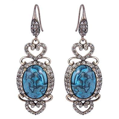 Clearine Women's Vintage Inspired Crystal Floral Pattern Chandelier Pierced Dangle Earrings dN4lgToJ