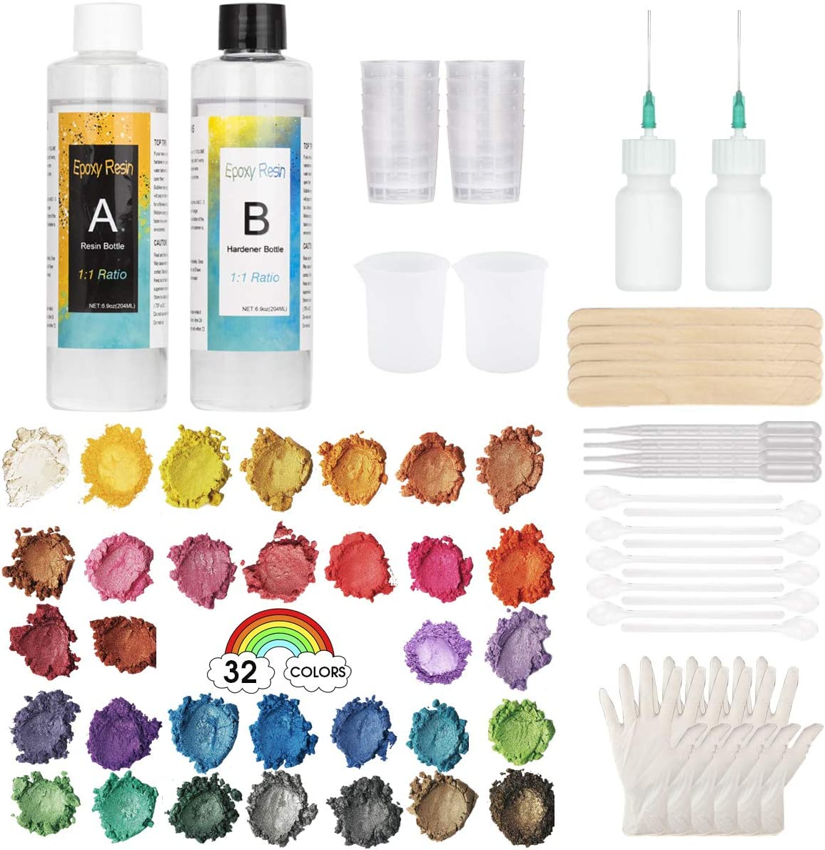 Clear Cast Epoxy Resin Kit, Cast Resin 13.8 Ounce, 32 Assorted Colors Mica Powders, Electric Blender, Measuring Cups, Syringes, Gloves, Pipettes, Mixing Sticks, Clear Spoons