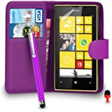 Nokia Lumia 520 Case - Premium Leather PURPLE Wallet Flip Case Cover Pouch with Big Touch Stylus Pen RED Dust Stopper Screen Protector & Polishing Cloth SVL2, (WALLET PURPLE)