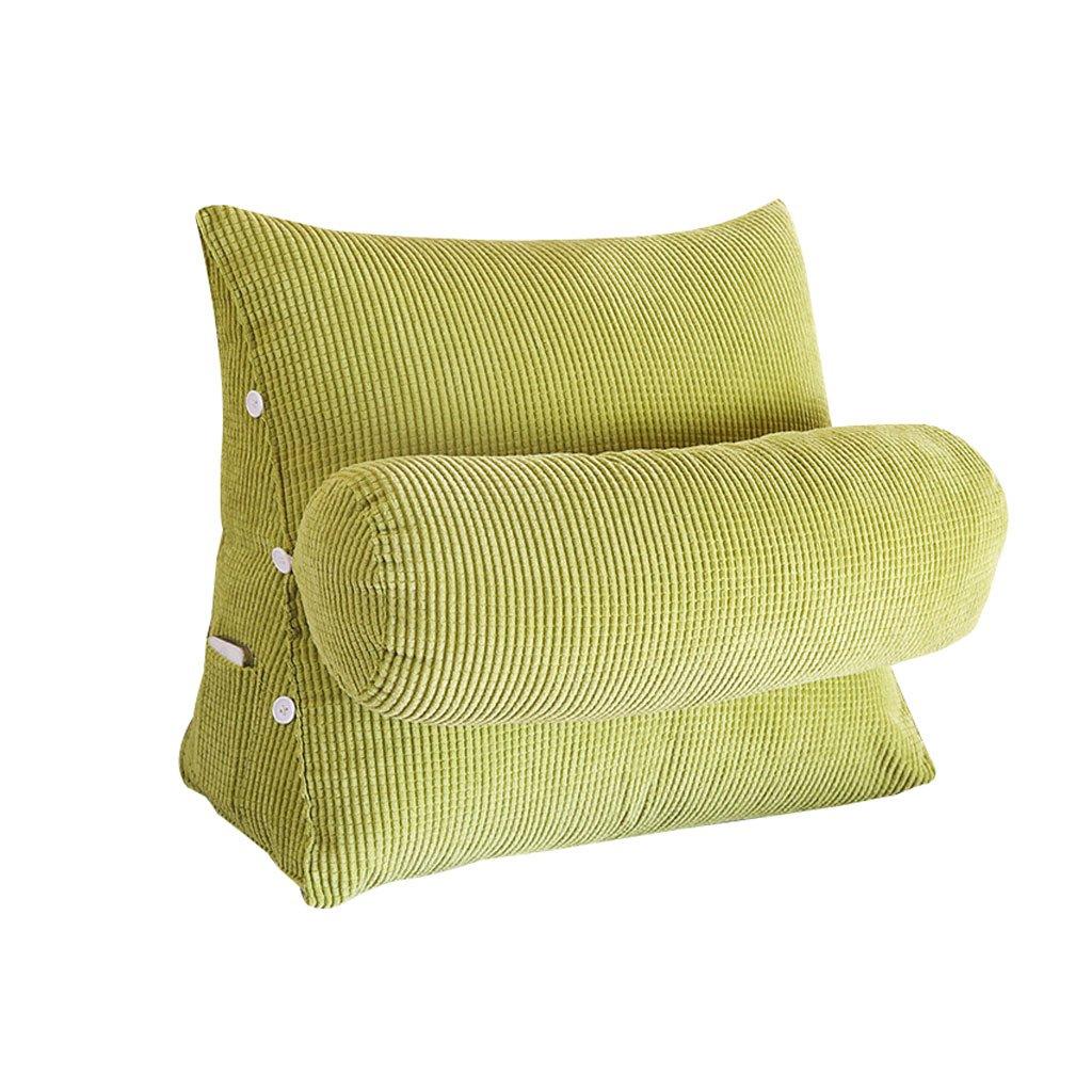 Triangle Sofa Bed Headrest Headboard Pillow With Headrest Lumbar Pillow Backrest Waist Pads Office Pillow Bay Window Cushion Back Green (Size : 60cm20cm50cm)