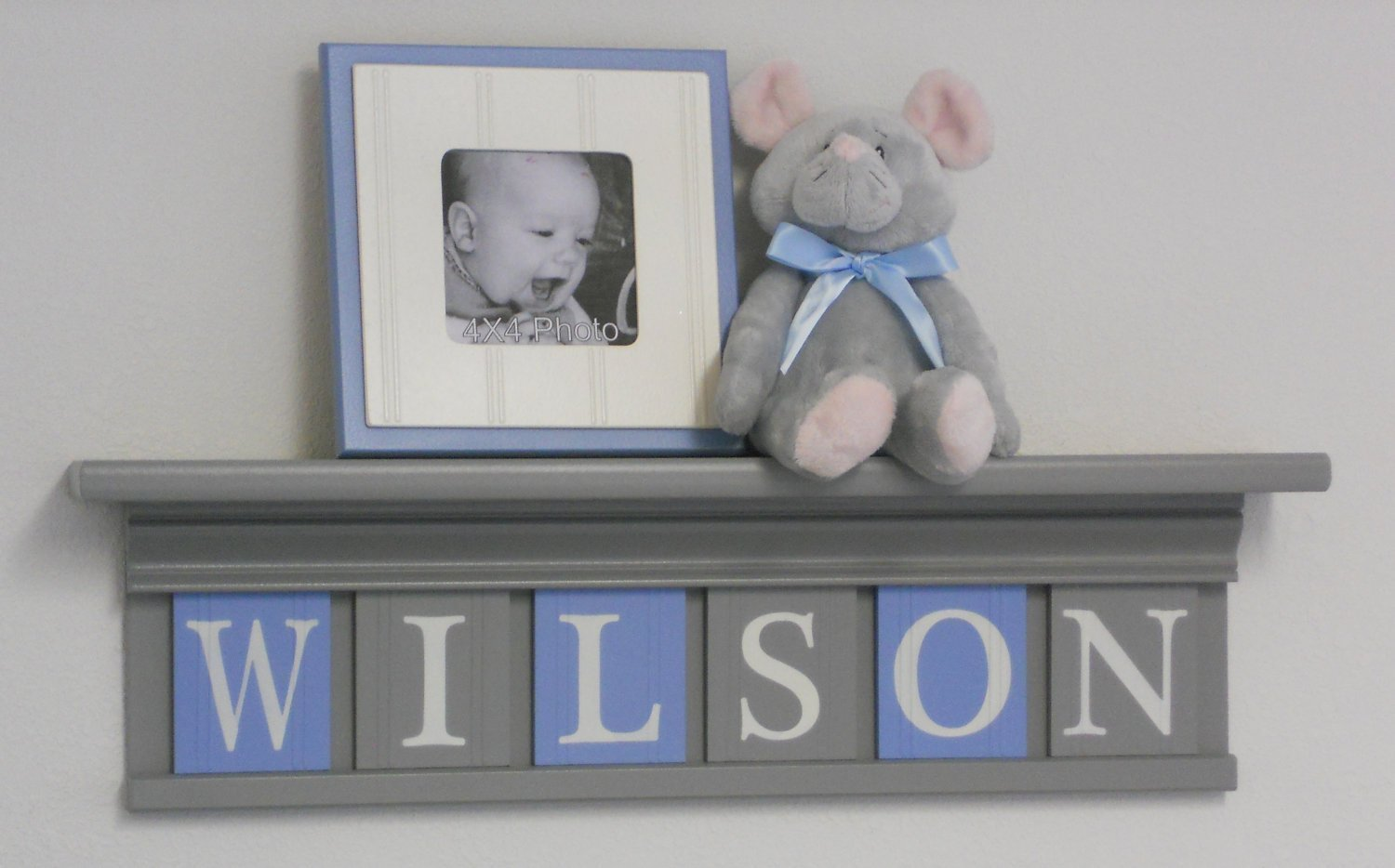 Amazon Grey Shelf With Light Blue And Gray Wall Letters Custom Baby Boy Nursery Name Shelves Handmade