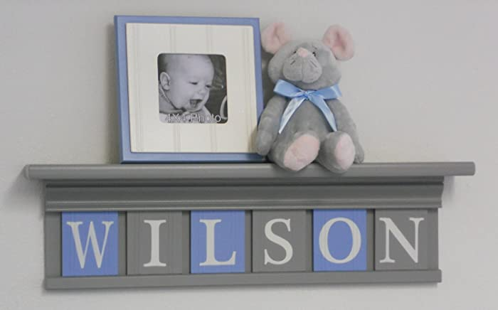 Amazon.com: Grey Shelf with Light Blue and Gray Wall Letters, Custom ...