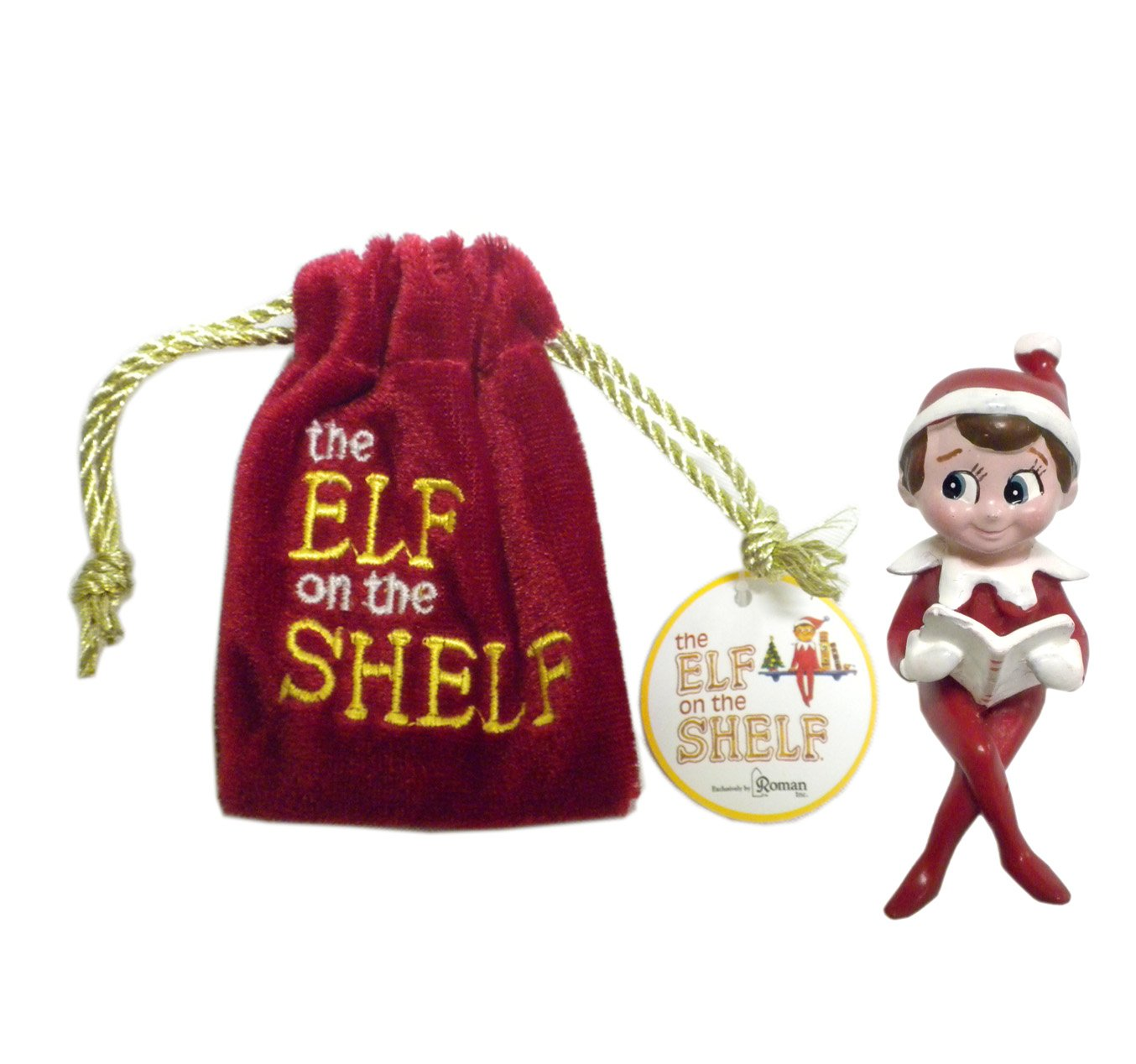 amazoncom the elf on the shelf in a velvet bag decorative mini figurine christmas tradition new story book face figurine home kitchen - Elf On The Shelf Christmas Tradition