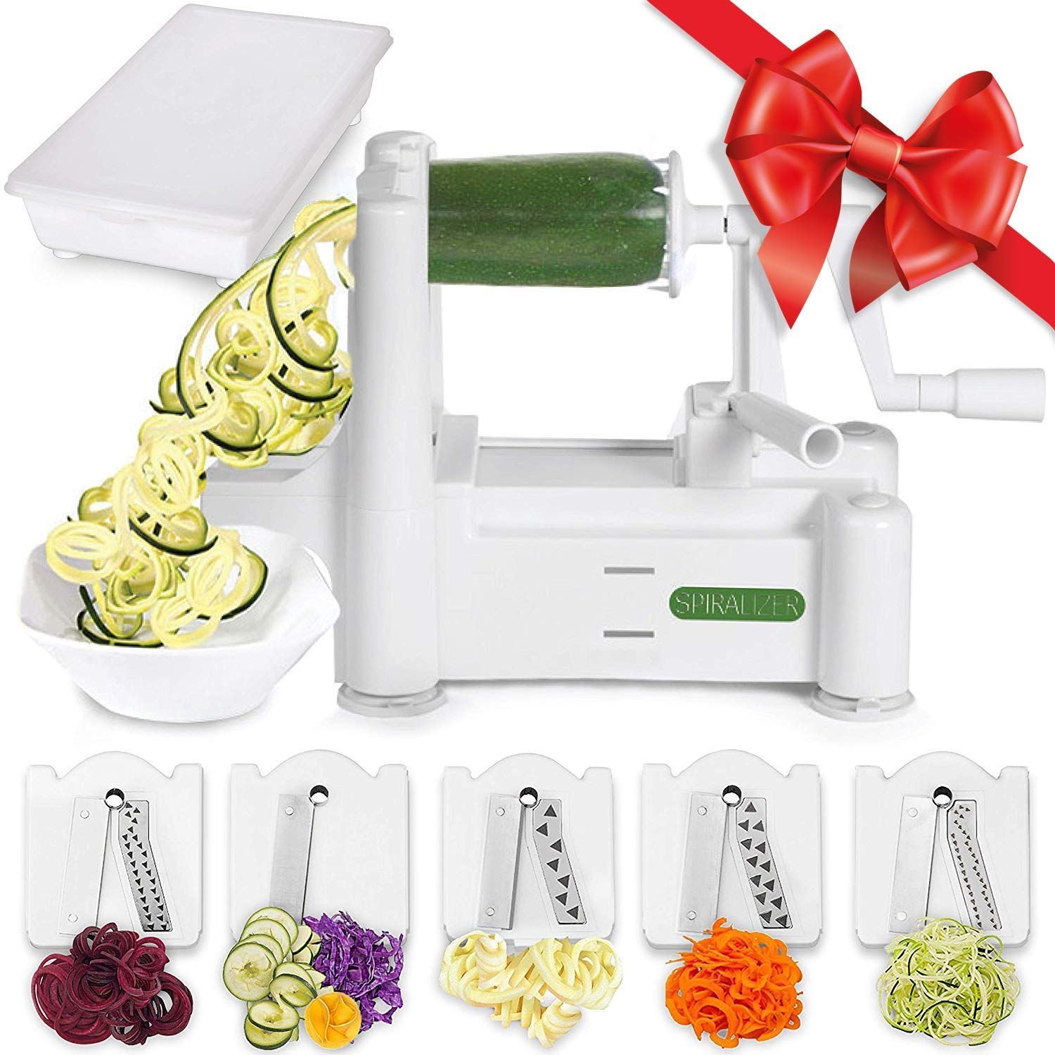 Spiralizer 5 Blade Vegetable Slicer Strongest And Manual Cableado Electrico Minimoto Chopper 49 Heaviest Best Veggie Pasta Spaghetti Maker For Keto Paleo Gluten Free Comes With Container