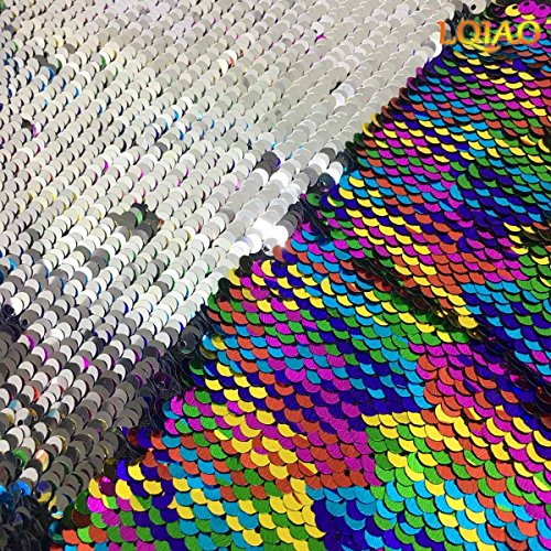 125x45CM Clothes Silver Reversible Sparkly Fabric Wedding 5mm Rainbow Decor diy Dress for sewing Embroidered Mermaid Sequin craft rx1vwrtq