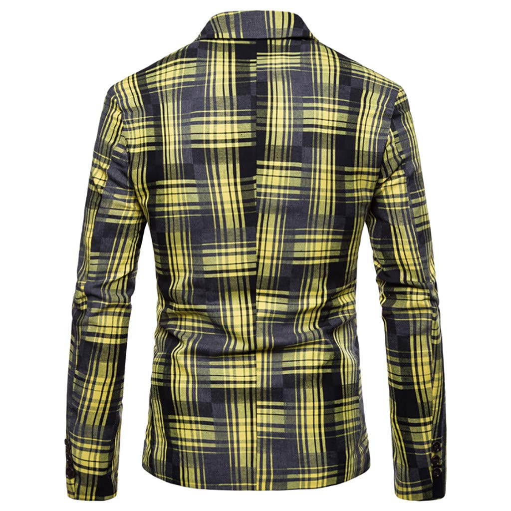 TOOPOOT 2019 Mens Jacket Slim Fit One Button Sport Coat Notch Lapel Casual Business Stripe Single Breasted Outwear