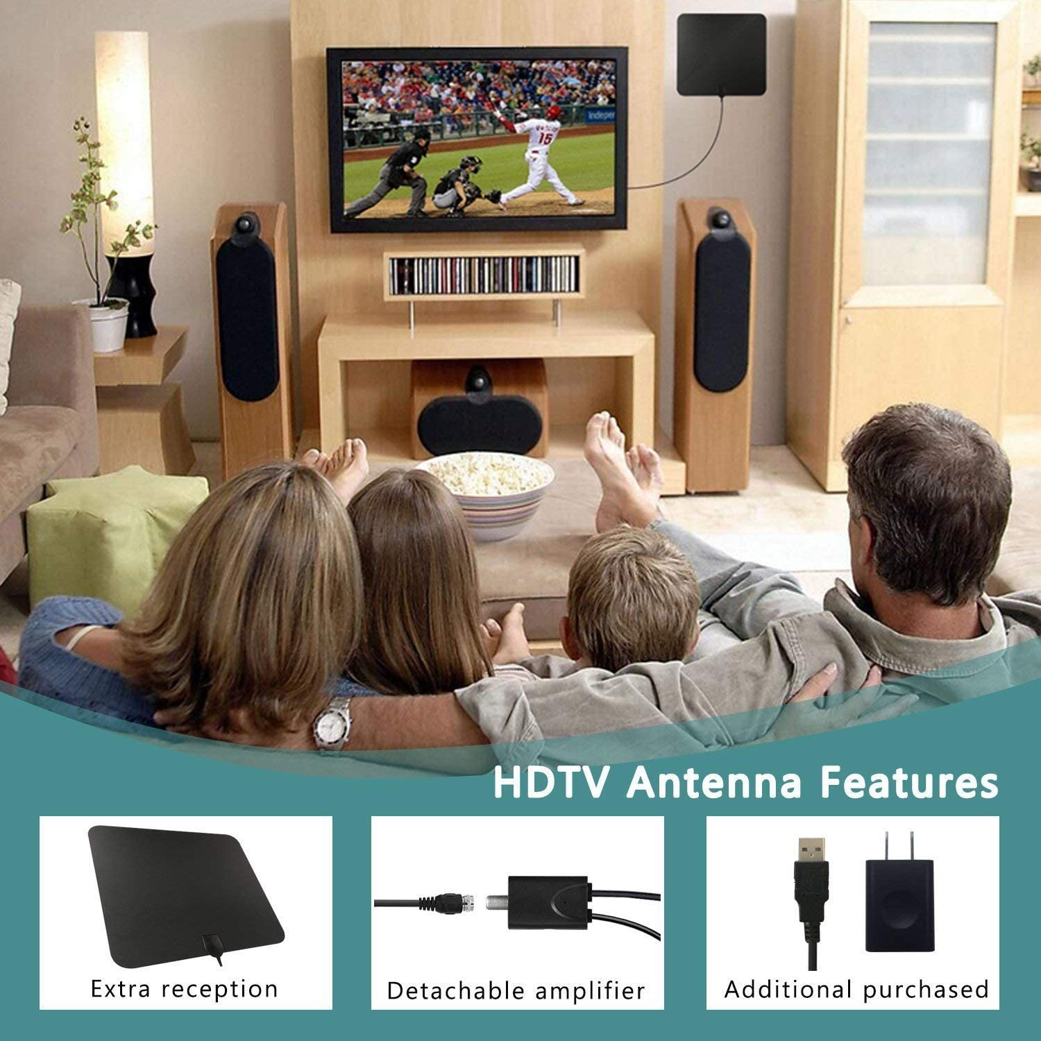 Digital HDTV Antenna Long Range with Amplifier Signal Booster 60-90 Miles TV Antenna Indoor Amplified HDTV Antenna Efind Digital TV Antenna Indoor 10 Feet Coax Cable//USB Power Adapter
