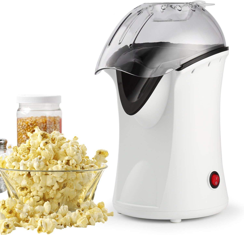 Popcorn Poppers, 1200W Hot Air Popcorn Popper Popcorn Machine, No Oil Needed White