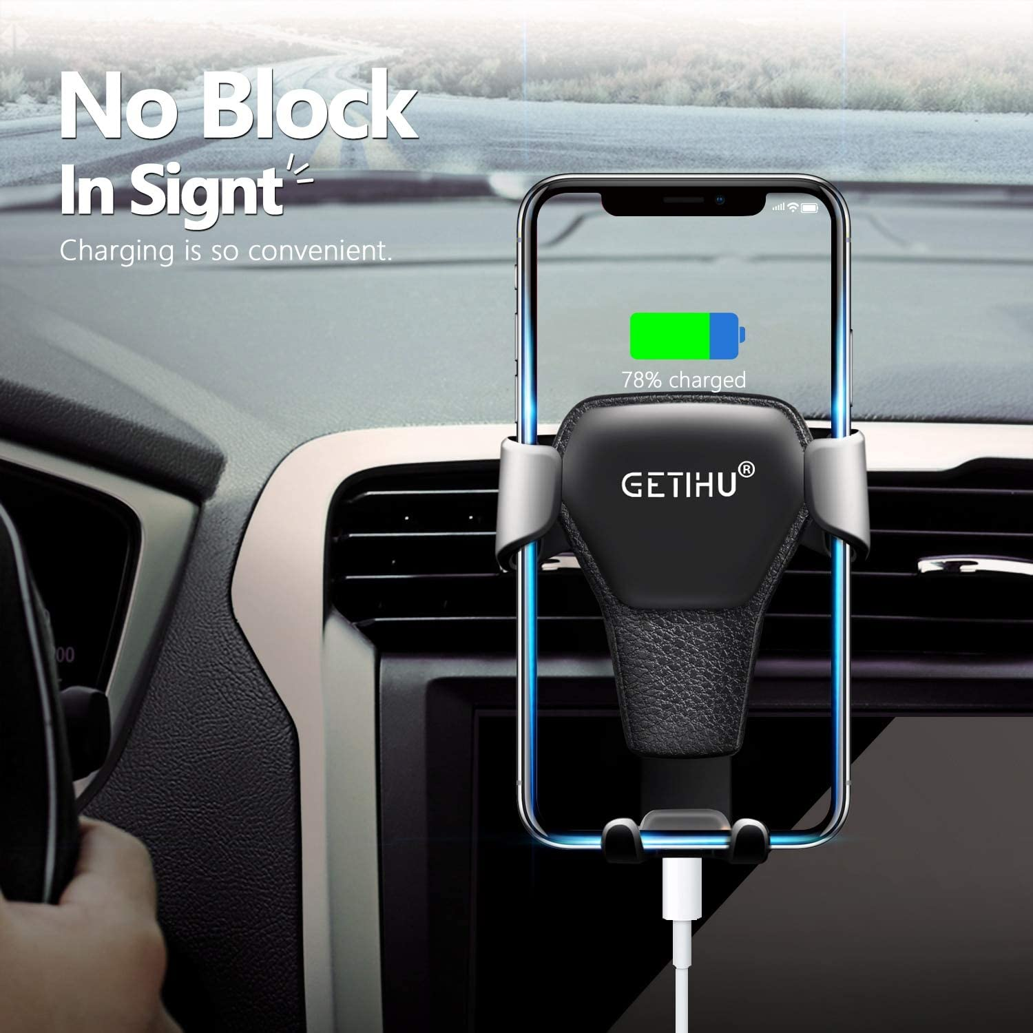 GETIHU Gravity Car Holder for Phone in Car Air Vent Clip Mount No Magnetic Mobile Phone Holder Cell Stand Support for All Phone