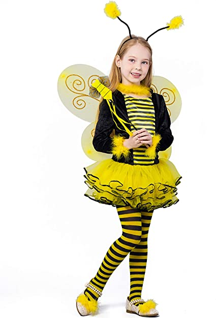 4-Pack Girls Kids Bumble Bee Costume Set Bee Wing Fairy Wand Tutu Skirt Headband Fancy Dress Up Party Costume Yellow
