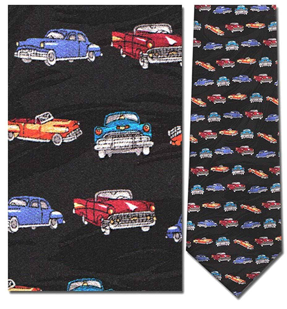 1950s Men's Clothing Mens 100% Silk Black Vintage Classic Cars Tie Necktie $29.95 AT vintagedancer.com