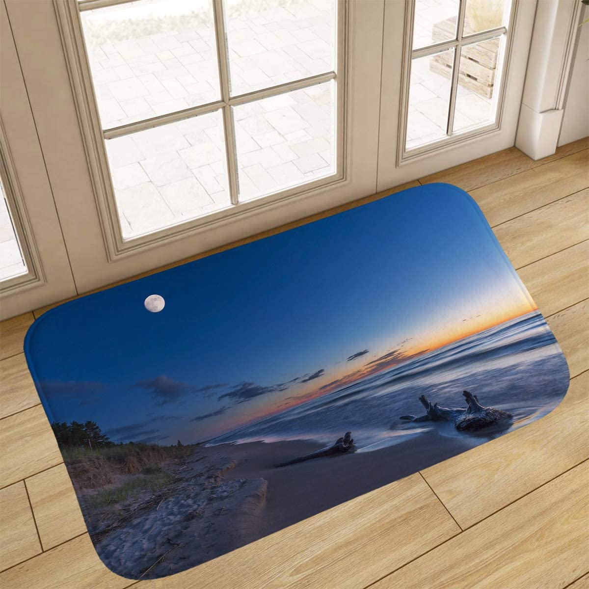 Y Heathfit Beach Bathroom Rugs, Doormat,Driftwood On A Lake Huron Beach at Twilight Grand Bend, Ontario, Canada,Home Decor Floor Carpet Bath Mat,18x47 in