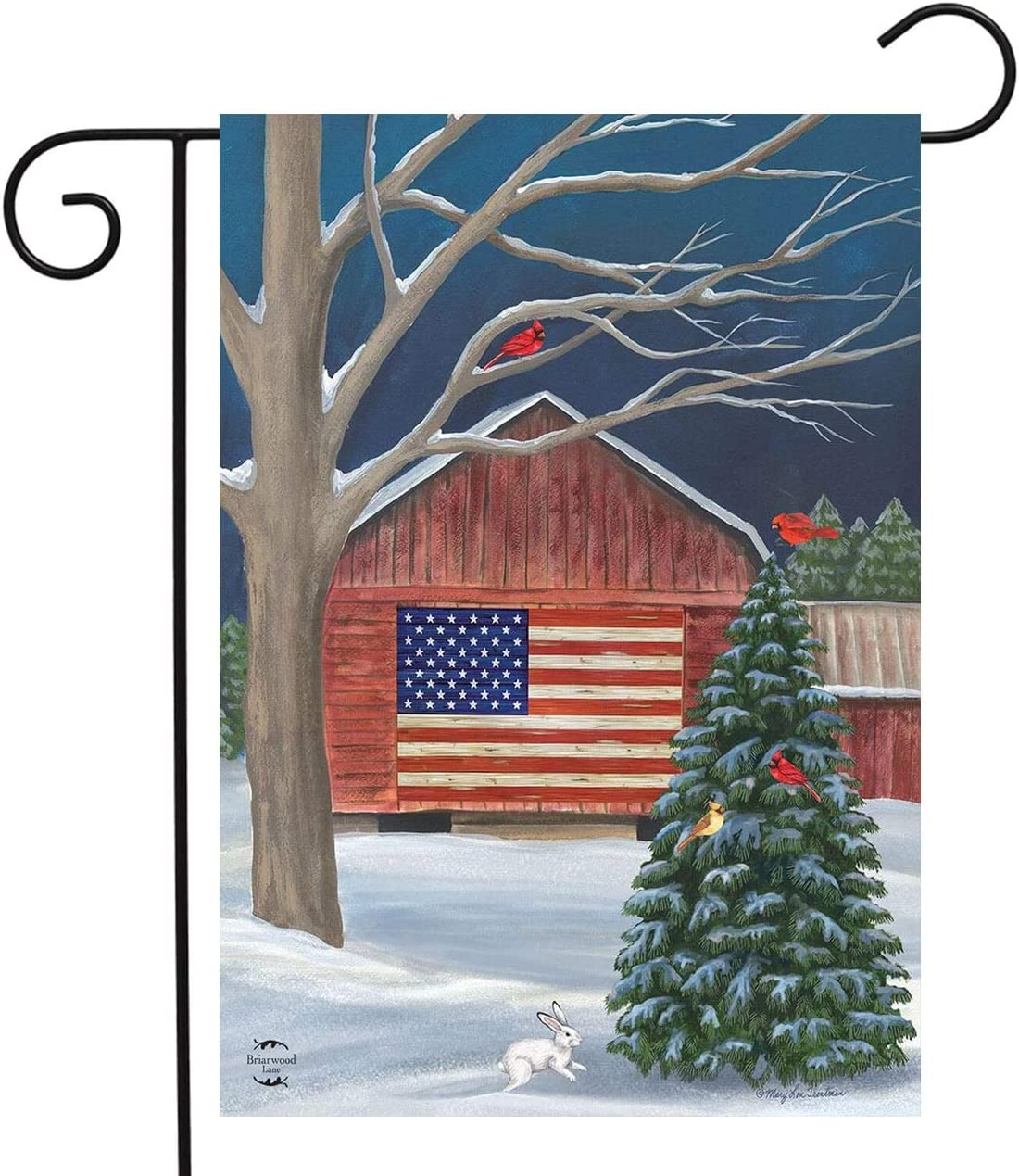 "Briarwood Lane Barnside Winter Garden Flag Patriotic Seasonal 12.5"" x 18"""