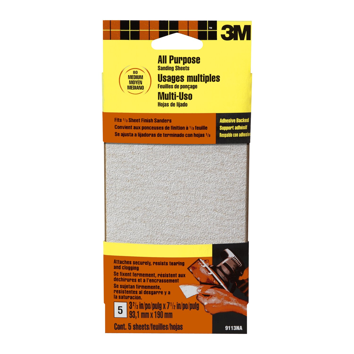 5-pack 9114DC-NA 353183 Coarse Grit 3M 9114DCNA 3.66-Inch by 7.5-Inch Adhesive Backed Sandpaper Sheets