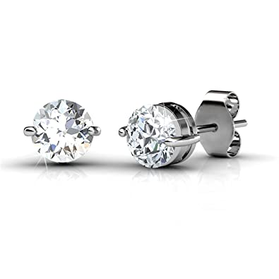 Private Twinkle 18ct White Gold Plated Stud Earrings made with Crystal from SWAROVSKI (6mm, 2 Claw)