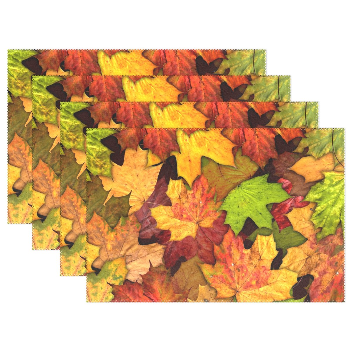 Naanle Autumn Leaves Placemat Set of 6, Fall Leaves Heat-Resistant Washable Table Place Mats for Kitchen Dining Table Decoration