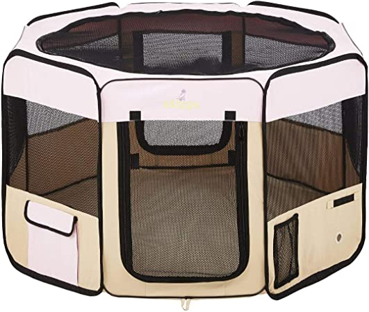 """Amazon.com : Zampa Portable Foldable Pet playpen Exercise Pen Kennel Carrying Case for Larges Dogs Small Puppies/Cats 