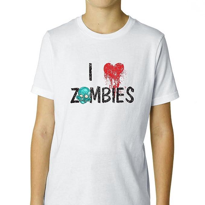 I Love Zombies Halloween corazón Graphic - Camiseta juvenil de algodón: Amazon.es: Ropa y accesorios