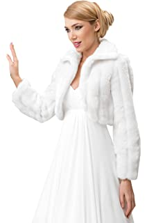 ICEGREY Damen Pelz Bolero Braut Hochzeit Fell Jacke aus k/ünstlichem Fuchspelz
