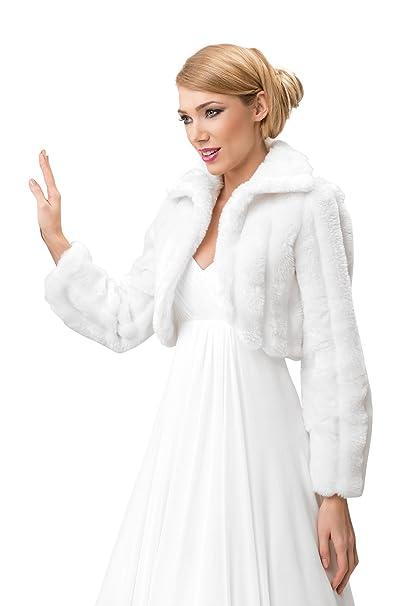 856319e2d Chaqueta de piel de visón sintética para novia, tipo bolero, manga larga,  con forro