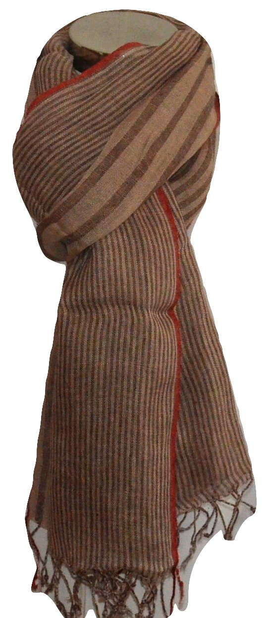 100% Pure Flax Linen, Striped Two Tone Color Scarf/Wrap. (Brown). X2285