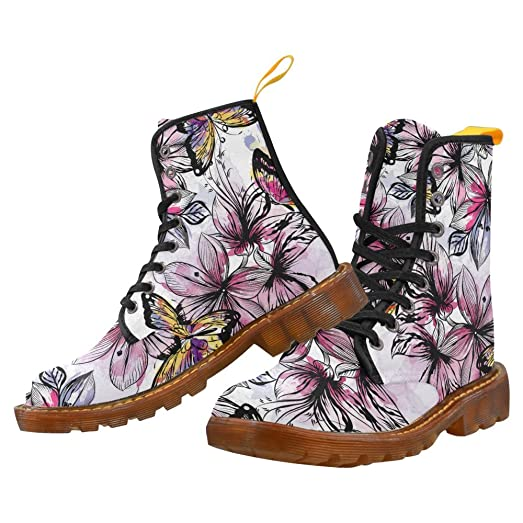 Shoes Seamless Pattern With Colourful Butterflies Lace Up Martin Boots For Women