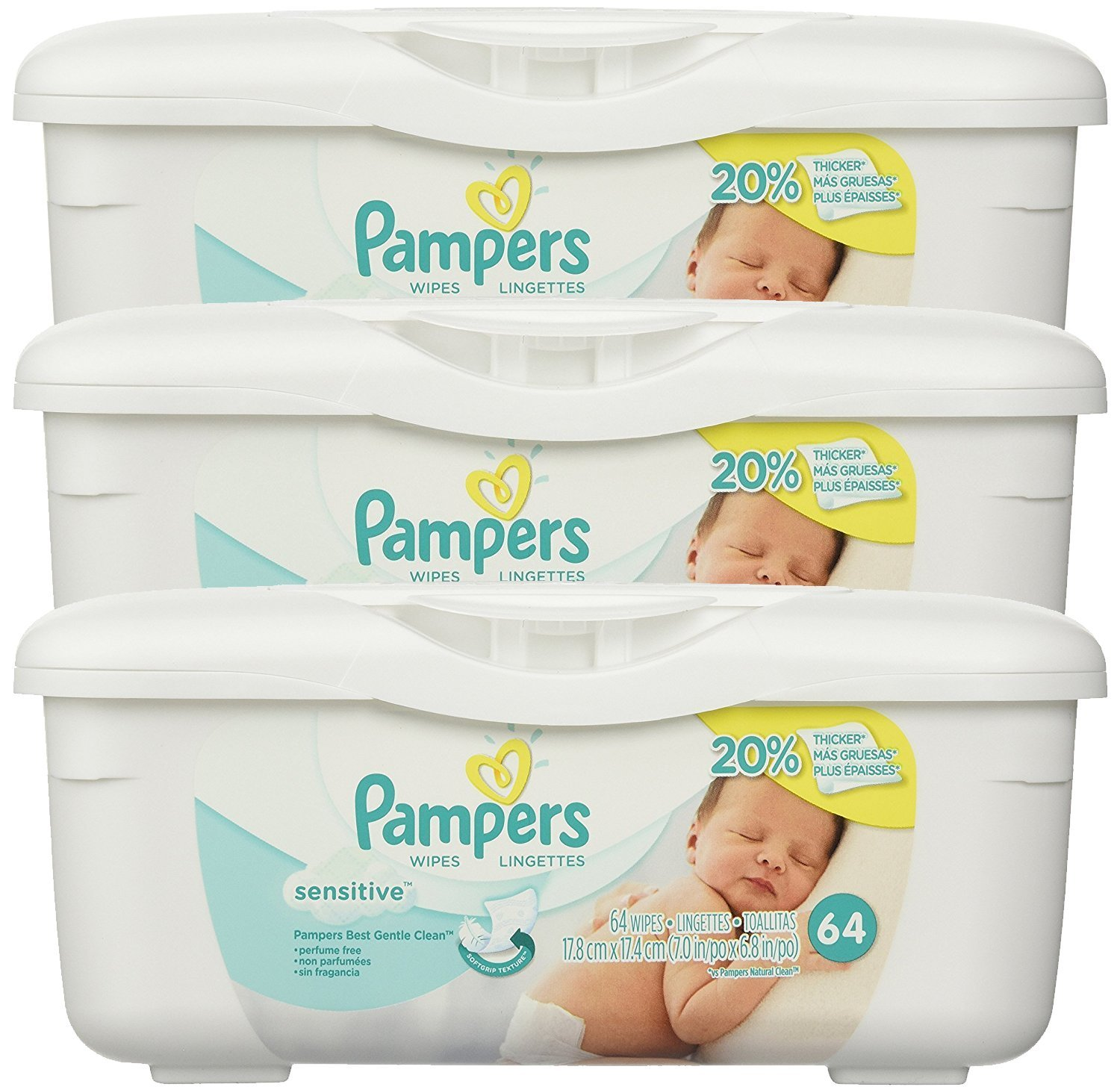Amazon.com: Pampers Baby Wipes Tub, Sensitive - 64 Wipes/Tub (6-Pack/384 Count, Pampers Sensitive): Health & Personal Care