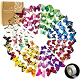 YGEOMER 96 Pcs Removable Mural 3D Butterfly Wall Stickers Decal for Home & Room Decoration, 8 Colors, 1 Sheet of Dot Glue Stickers as Gift in Per Pack