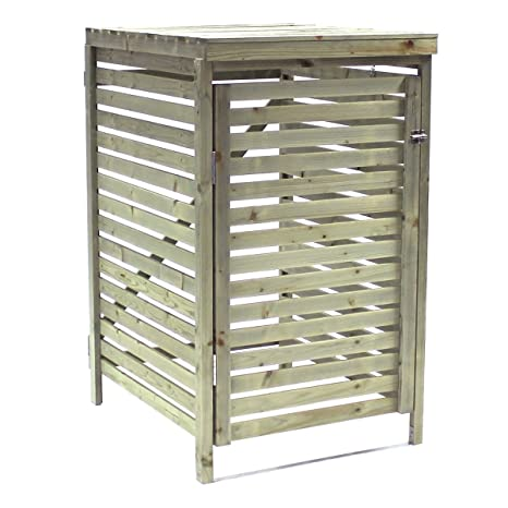 Bentley Garden - Mueble para contenedor de basura con ruedas de madera de abeto nórdico para